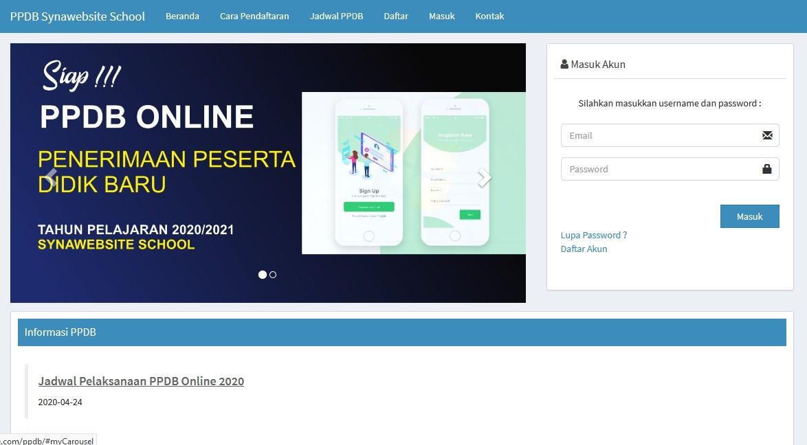 Source Code Penerimaan Peserta Didik Baru (PPDB Online) dengn Codeigniter dan Ajax Jquery